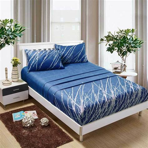 blue tree sheet king king size bed flat