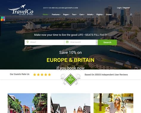 best tourist site 20 top travel and accommodation website templates 2018