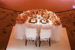 bride and groom table with orange flowers wedding With bride and groom table centerpiece