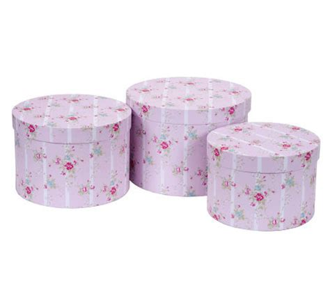 shabby chic hat boxes treasures by shabby chic set of 3 nesting round hat boxes page 1 qvc com