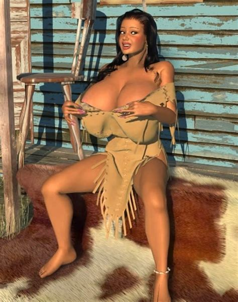Big breasted 3D American Indian babe posing outdoors - Pichunter
