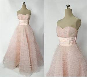 vintage 50s pink wedding dress tiered tulle xs s With vintage pink wedding dress