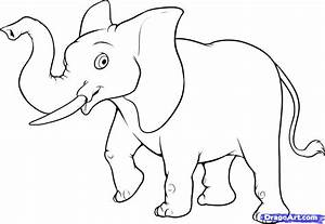 Simple Animal Drawing Draw An Easy Elephant Drawings ...