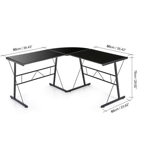 bureau en verre d angle bureau d 39 angle en verre trempé noir interougehome