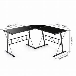 Bureau Angle Verre : bureau d 39 angle en verre tremp noir interougehome ~ Teatrodelosmanantiales.com Idées de Décoration