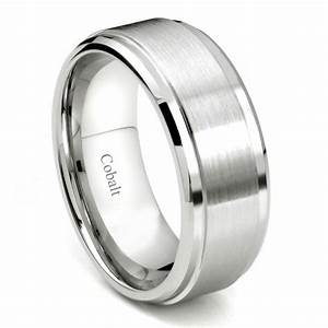 cobalt xf chrome 9mm brush center wedding band ring With cobalt wedding rings