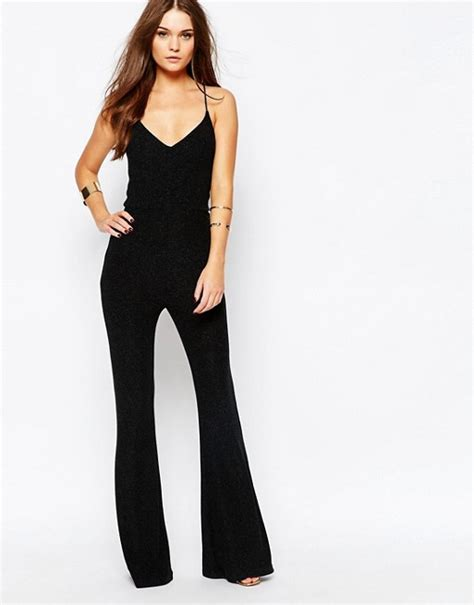 flared jumpsuit look look strappy metallic flare jumpsuit