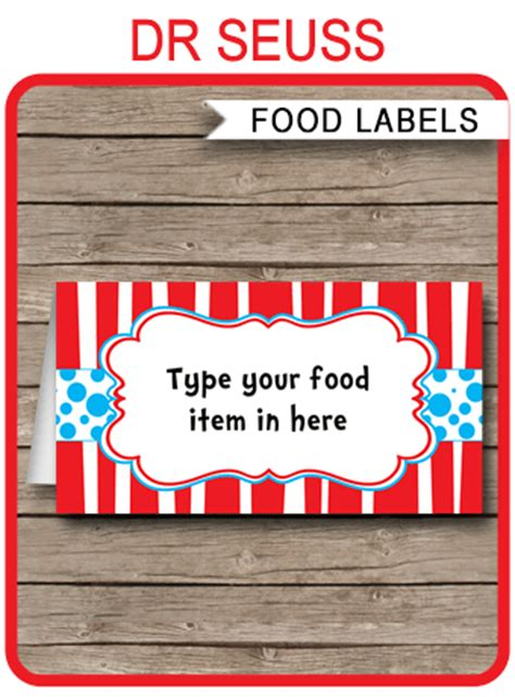 dr seuss party food labels place cards dr seuss theme