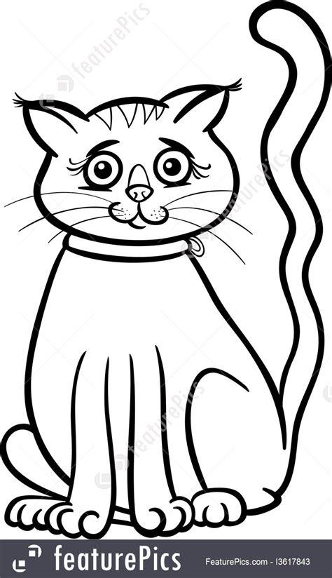 illustration  female cat cartoon  coloring book