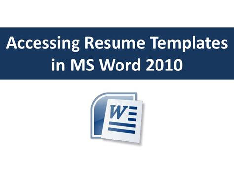 Free Resume Templates For Word 2010 by Accessing Resume Templates In Word 2010