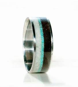 Mens wedding band antler wood and turquoise ring for Mens turquoise wedding rings