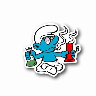 Weed Stickers Cartoon Smoking Marijuana Bong Clipart