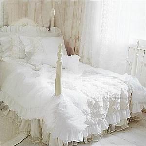Housse De Couette Dentelle : hot 4 pcs set romantique blanc dentelle rose ensemble de ~ Teatrodelosmanantiales.com Idées de Décoration