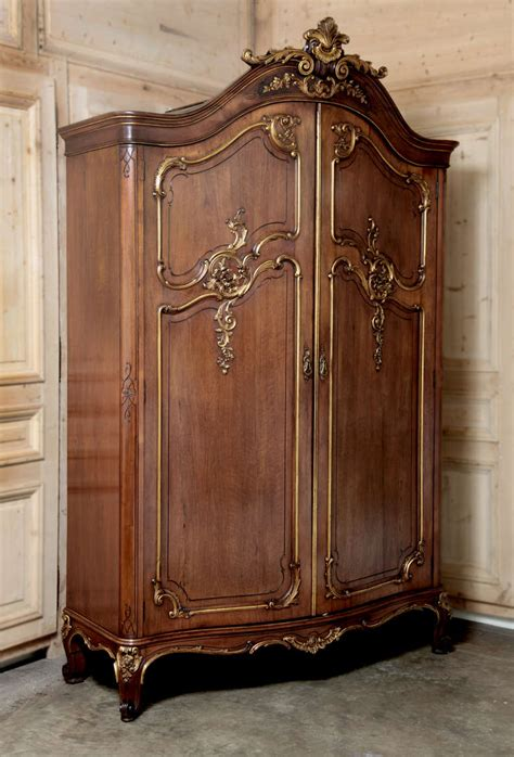 Antique French Regence Serpentine Walnut Armoire Modern