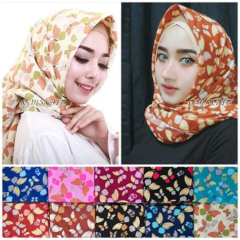 model hijab pesta segi empat denim kupu kupu terbaru  trend fashion style hijab  terbaru