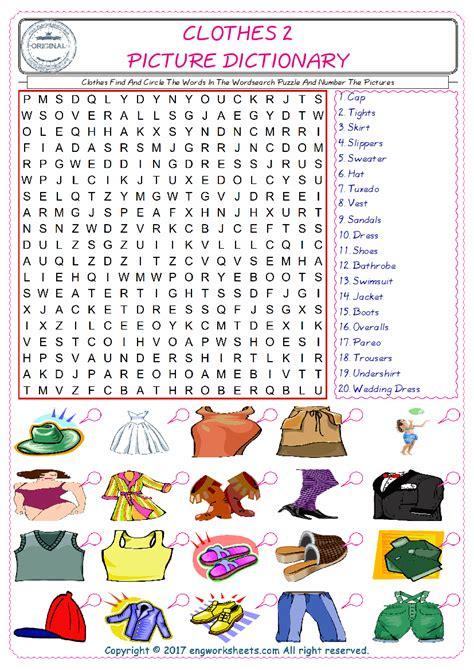 clothes esl printable english vocabulary worksheets