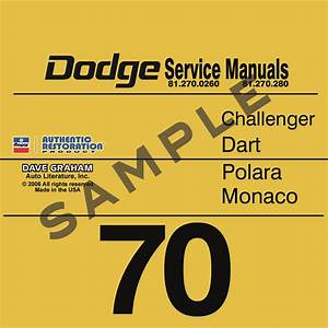 1970 Dodge Service Manuals Challenger  Dart  Polara  Monaco