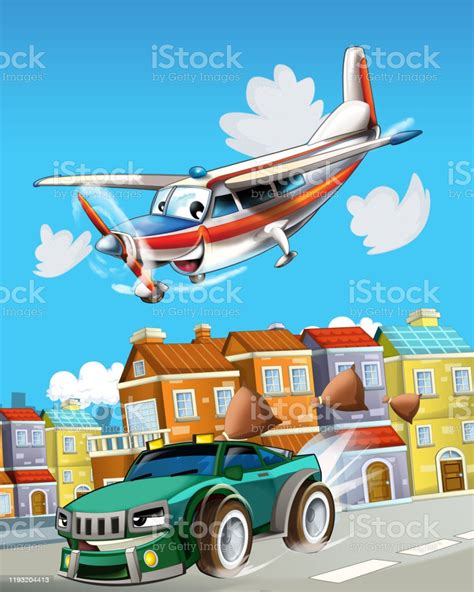 Cartoon Scene With Super Car Racing And Observing Plane Is