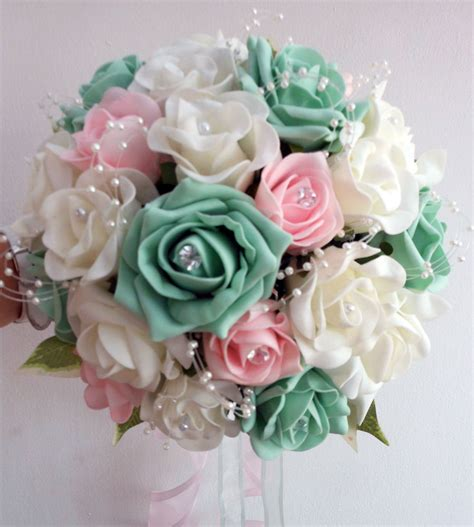 Wedding Flowers Brides Bouquet Ivory And Pale Pink And Mint