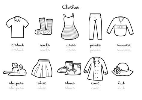 coloriage imagier en anglais clothes vocabulary