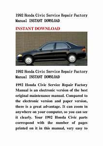 1992 Honda Civic Service Repair Factory Manual Instant