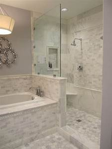 Carrera marble subway tile design ideas for Marble subway tile bathroom