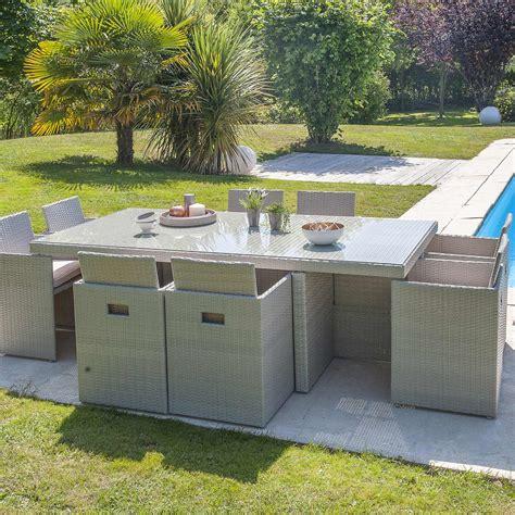 Salon de jardin Encastrable ru00e9sine tressu00e9e gris 1 table + 8 fauteuils | Leroy Merlin