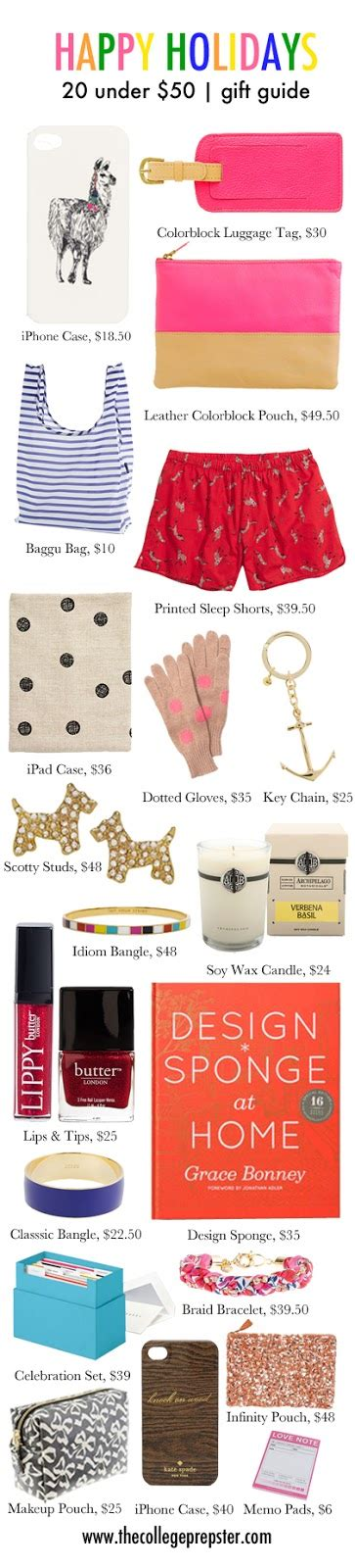 holiday gifts under 50 the college prepster