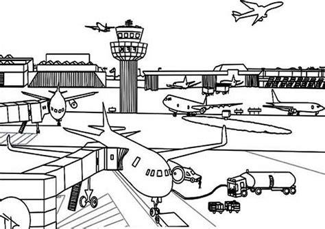 Vliegveld Kleurplaat by Airport Coloring Page For Coloring Sky