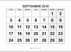 Calendrier Septembre 2018 à imprimer