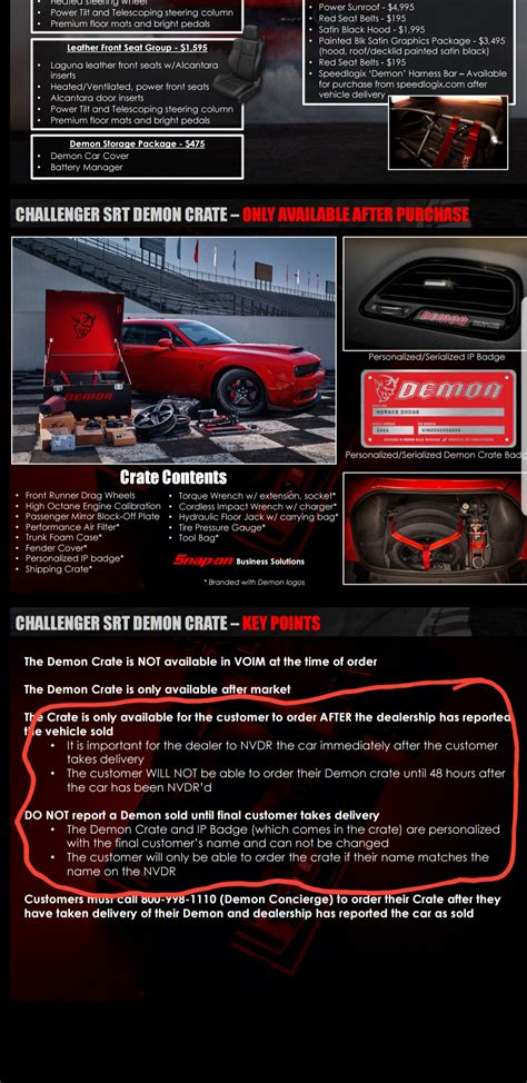 demon crate   ordered      car