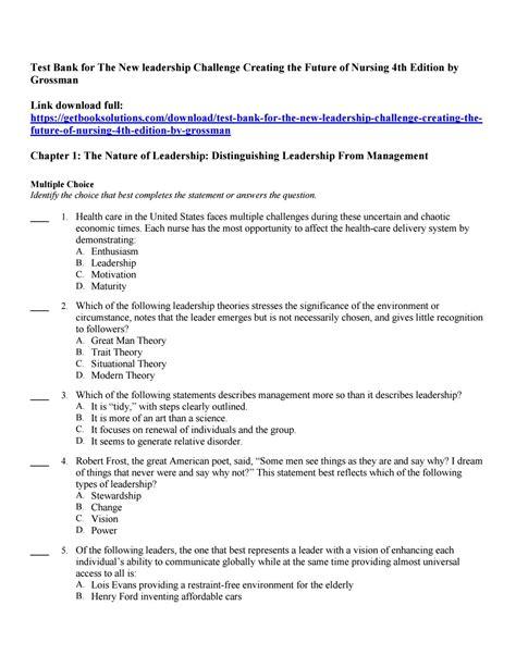 test bank    leadership challenge creating