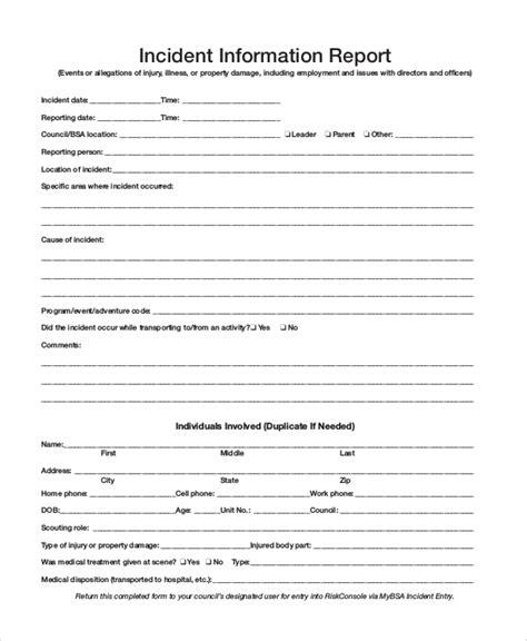 sample incident report  documents   word docs