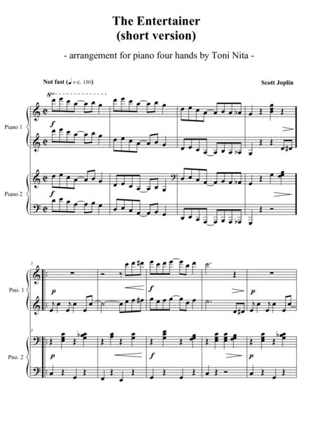 The entertainer a ragtime two step. Download The Entertainer (short Version) - Piano Four Hands Sheet Music By Scott Joplin - Sheet ...