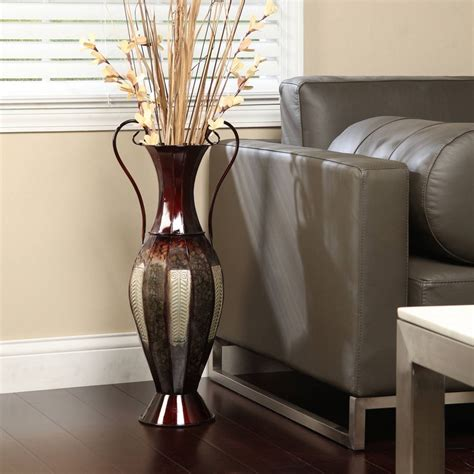 floor decor vases tall 2 tone metal floor vase decorative display 26 quot silver