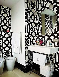Black and White Trellis Wallpaper, Contemporary, bathroom