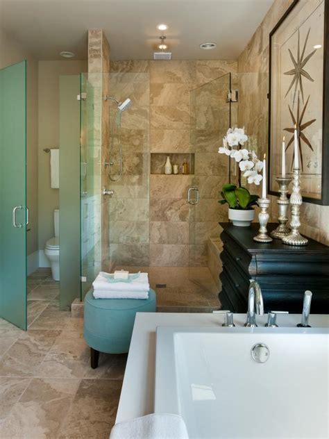 master bathroom  spacious walk  shower hgtv