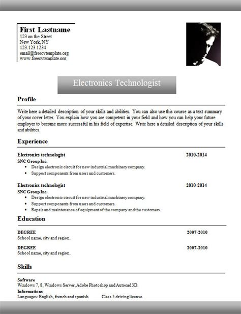 curriculum vitae format word doc template 961 to 967 free cv template dot org