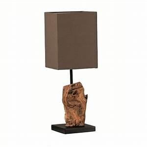 Tischleuchten Mit Stoffschirm : rustikale tischleuchte aus holz mit stoffschirm braun wohnlicht ~ Frokenaadalensverden.com Haus und Dekorationen