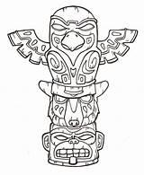 Totem Coloring Native American Getcolorings Pole sketch template