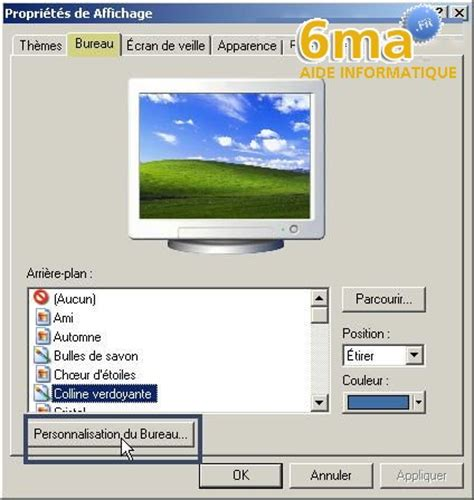 afficher bureau afficher une page web sur le bureau de windows xp