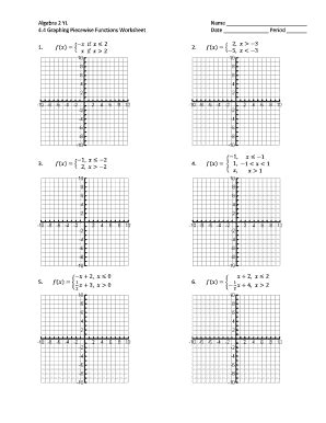 Algebra 2 Yl 44 Graphing Piecewise Functions Worksheet  Fill Online, Printable, Fillable, Blank