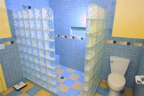 glass block walls in bathrooms glass block wall and tile