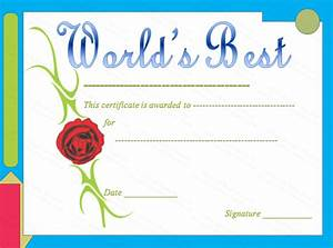 Rose Themed World 39 S Best Award Certificate Template