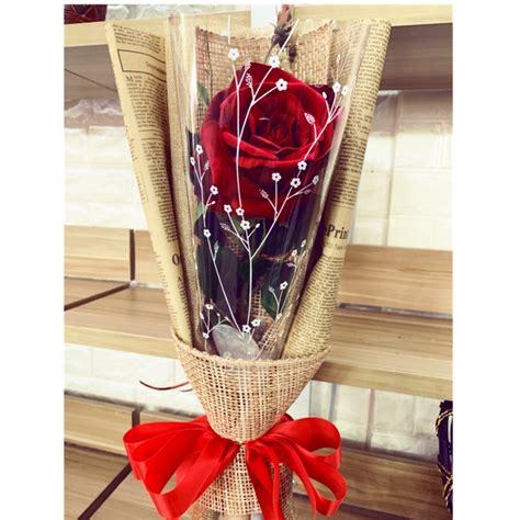 ดอกไม้จัดช่อ ดอกเดียว ดอกกุหลาบแดงดอกใหญ่ ขนาด 12 ชม. ดอก ...