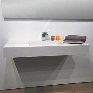 Plan Suspendu Pour Vasque : plan vasque salle de bain suspendu 101x46 cm pierre calacatta ~ Teatrodelosmanantiales.com Idées de Décoration
