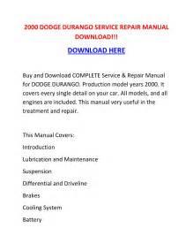 2000 Dodge Durango Service Repair Manual Download    By