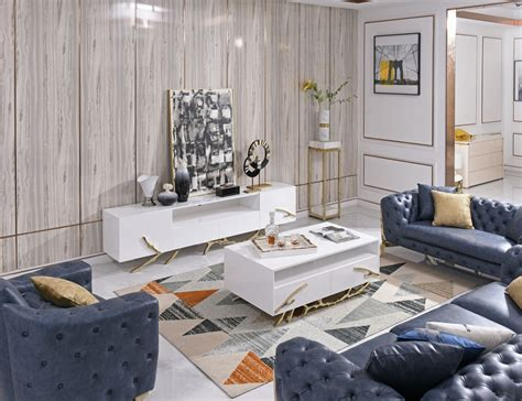 These coffee table gold are offered in various shapes and sizes ranging from trendy to classic ones. Modrest Legend - Modern White & Gold Coffee Table