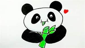 HOW TO DRAW PANDA | Cute Panda Eating Bamboo | Easy ...