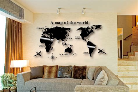 Online Shop Wall Art Decal World Map Wall Sticker Globe Earth Wall Decor for Kid's Room Home DIY